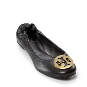 Tory Burch Reva Black Leather Gold Emblem Size 6.5